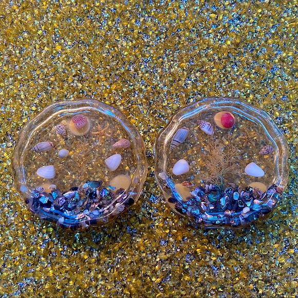 😻 3 for $13 Pair of Resin and Shell Coasters